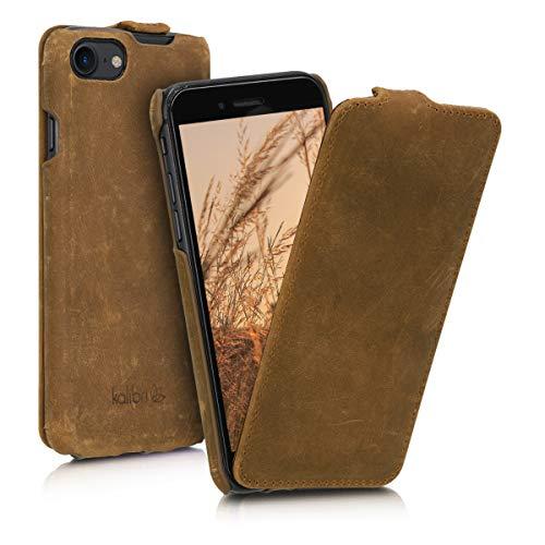 kalibri Flip Hülle Ultra Slim kompatibel mit Apple iPhone 7/8 / SE (2020) - Leder Hülle Schutzhülle Tasche in Braun