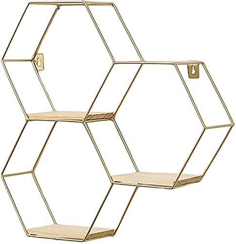 SWECOMZE Hexagon Wandregal aus Holz und Metall Hängeregal Schweberegal Badregal dekorative Regal für Büro Küchenregal, Badezimmer, Wanddekoration (Golden,3 Stück-2)