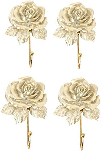 Ganchos Conecte 4 unids montado en la pared vestido vintage rosa sombrero de rosa gancho puerta ropa de ropas toalla de baño, oro Ganchos para pared