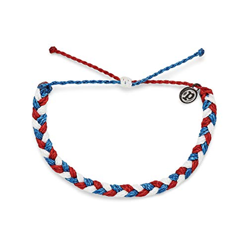 Pura Vida Red White Blue Multi Braided Bracelet - 100% Waterproof, Adjustable Band - Plated Brand Charm