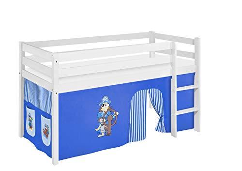 Lilokids Spielbett Jelle Pirat, Hochbett mit Vorhang Kinderbett, Holz, blau, 198 x 98 x 113 cm