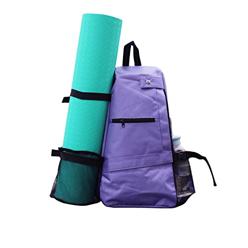 Shaddock Yoga Mat Bag Backpack Crossbody Sling Backpack Yoga Mat Carrier Bag Suit for Women Men Workout Gym Sport Travel Hiking Biking Without Yoga Mat (Purpple)