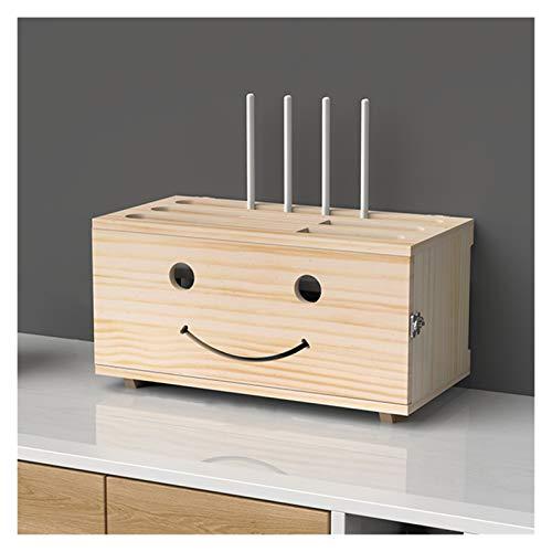 LJJOO Protector de sobretensiones de tira de energía de madera, caja de almacenamiento enrutador, contenedor de gestión de cable, estante de pared, caja de acabado de almacenamiento, caja de cable de