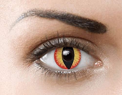 PHANTASY Eyes® Farbige Kontaktlinsen, Ohne Stärke (DRAGON EYES/SAURON) Cosplay perfekt zum Halloween und Karneval, Jahres Linsen, 1 Paar crazy fun Contact linsen + Kontaktlinsenbelälter!