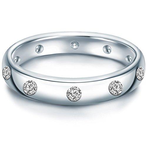 Tresor 1934 Damen-Ring Sterling Silber Zirkonia weiß im Brillantschliff - Verlobungsring Silberring Damen mit Stein Ehering