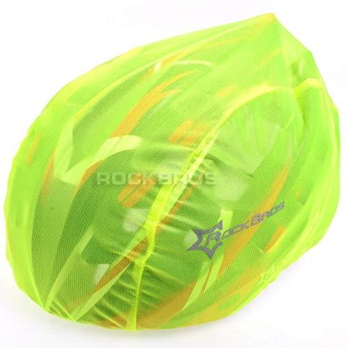 2 Stück Helmüberzug in GELB für Fahrradhelm - Schutz vor Regen, Wind, Sonne | reflektierendes Logo für Sicherheit | wasserdichter Regenüberzug | Helmschutz Kordelzug größenverstellbar (2 Stück Gelb)