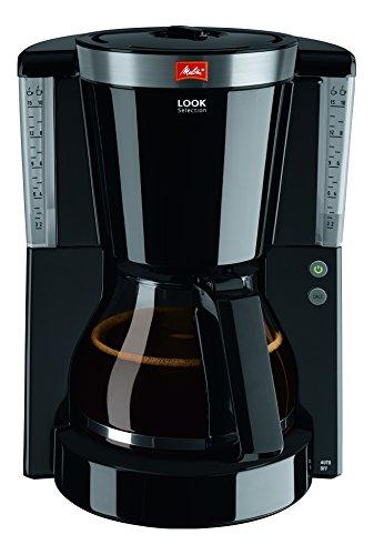 Melitta 1011-04, Filterkaffeemaschine mit Glaskanne, AromaSelector, Schwarz Kaffeemaschine LOOK IV SELECTION, Kunststoff, 1.2 liters