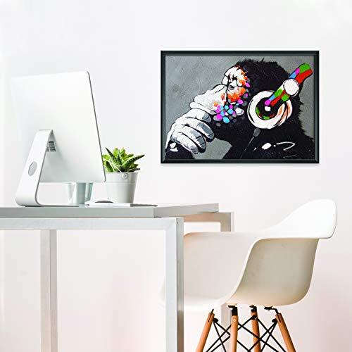 Banksy Mona Graffiti Pared Arte Póster Para Chicos - Monkey Mono Decoración de Música Para Sala de Jugadores - Cuadros de Pared De Sala Modernos Pare Decorativos - 56 x 40 cm