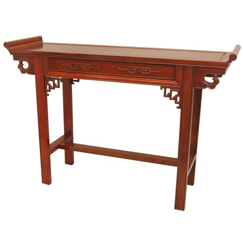 Big Sale Oriental Furniture Elegant, Stunning, 46-Inch Classic Qing Chinese Rosewood Hall Table, Light Honey Stain