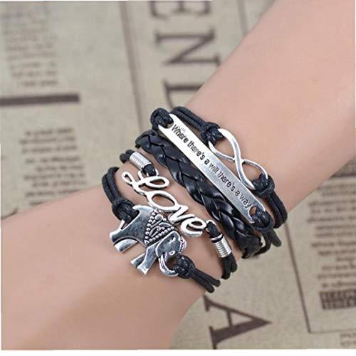 BYFRI mannelijke vrouwelijke armbanden & pony Infinity olifant liefde handleiding meerlagige armband en retro
