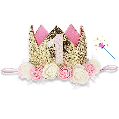 Corona Cumpleaños de Princesa para Bebé 1 Año, Tiara para Niños con Diadema Elástica, Corona de Cumpleaños con Pieza de Flash y Decoración de Rosas, Ideal para el Primer Regalo de Cumpleaños