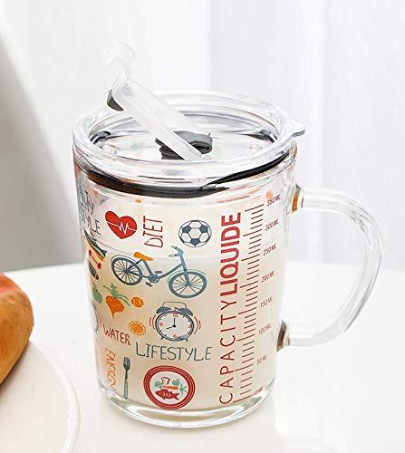 SOLEILER Tazza di latte con bilancia, tazza d'acqua, tazza di paglia, 350 ML tazza da in vetro per bambini Stampa a tenuta stagna del fumetto (bicicletta)