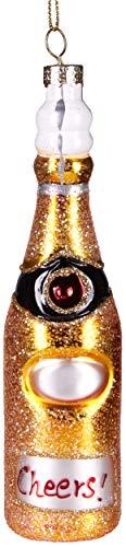 Brubaker Cheers! Champagner-Flasche Gold - Handbemalte Weihnachtskugel aus Glas - Mundgeblasener Christbaumschmuck Figuren lustig Deko Anhänger Baumkugel - 15 cm