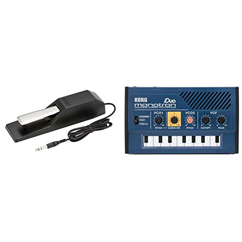 KORG DS-1H Damper Pedal for Electronic Pianos, Half Pedals & Palm Size, Analog, Synthesizer, Monotron Duo Monotron Duo, Simple Layout, Perfect for Beginnings, Built-In Speaker, Headphones, Compact Size for Anywhere