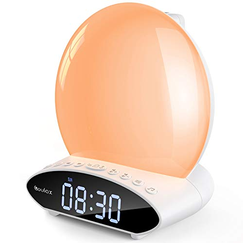 [2020 Upgraded] Lichtwecker mit Projektion COULAX Wake Up Light White-Noise Alarm Clock Projektionswecker Digital Wecker 2 Alarmen mit 30 Töne 7 Farben Tageslichtwecker UKW-Radio Radiowecker