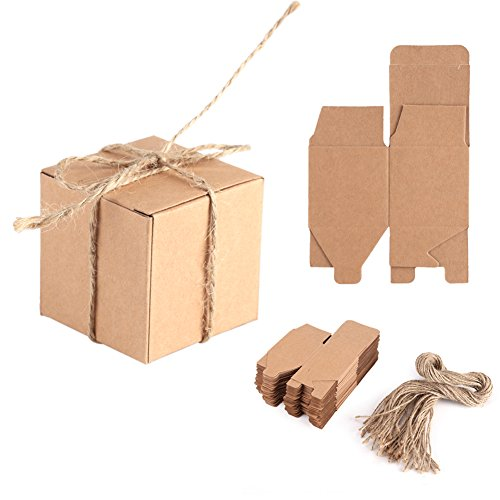 Delaman 50pcs Kraft Paper Candy Box Square Rustic Wedding Favors Candy Holder Bags Wedding Party Gift Boxes with Hemp…