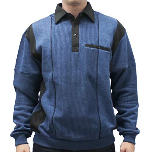 Classics by Palmland L/S Two Tone Banded Bottom Shirt 6094-165B (4XLT, Cadet)