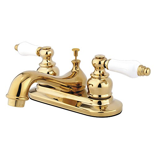 Elements of Design Elizabeth EB602PL Centerset Lavatory Faucet with Retail Pop-Up, 4-Inch, Polished Brass