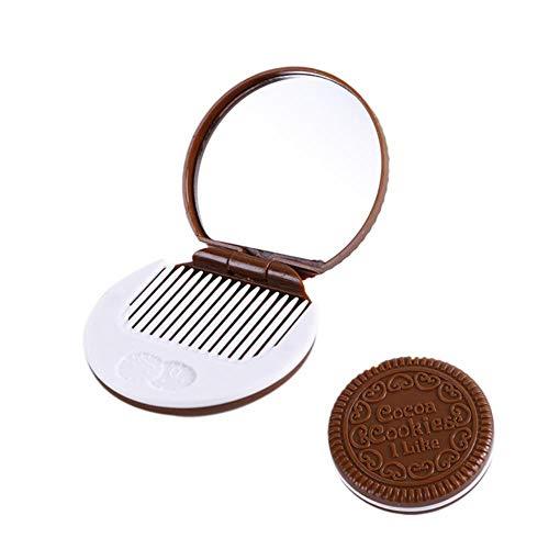 LASISZ Miroir de courtoisie Mode Biscuits au Chocolat Miroir de Poche Compact Miroir cosmétique avec Peigne Femmes Accessoires de Maquillage (café foncé), B