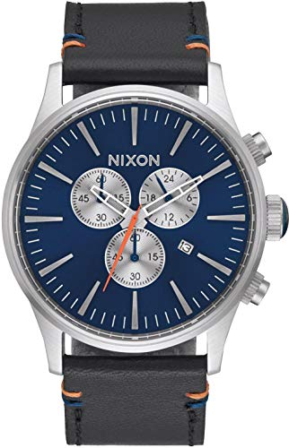 Nixon Armbanduhr Sentry Chrono Leder Blue Sunray