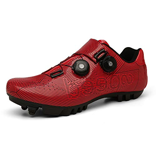 Calzado En Bicicleta Calzado De Bicicleta De Interior para Hombre Calzado De Rotación Rápido Cómodo Resistente Al Desgaste (42,Rojo)