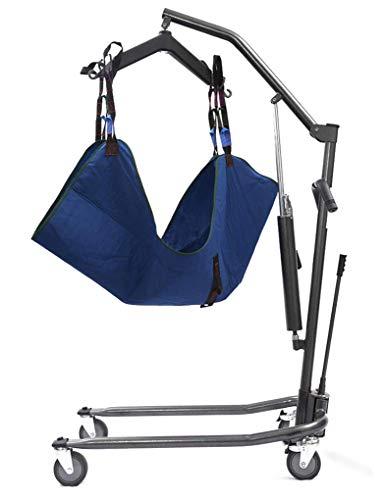 YXP Hydraulischer Stand-Up-Patientenlifter für ältere Menschen mit Behinderung und einem Gewicht von 350 Pfund mit mittelgroßem Ganzkörpernetz