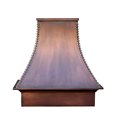 """SINDA Custom Hammered 16 Gauge Solid Copper Range Hood with 304 Stainless Steel Vent and Fan Motor, 48""""Wx48""""H, Smooth-Antique Copper, Island Mount, H27STRSCI4848"""