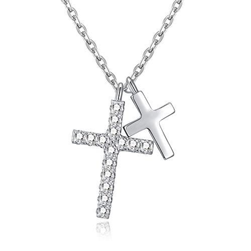EVBEA Mujer Collar Colgante de Cruz Doble Plata de Ley Circonita Cúbica Joyería Religiosa Regalo de San Valentín para Mujer