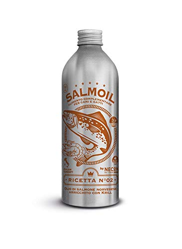 SALMOIL by NECON Pet Food Ricetta 2, Alimento complementare/Cibo per Cani e Gatti a Base di Olio di Salmone Norvegese e Krill da 500 ml, Ricco di Vitamina E, Omega3, No Conservanti, Made in Italy