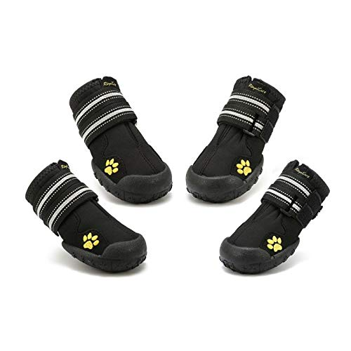 Royalcare Protective Dog Boots, Set of 4 Waterproof Dog Shoes with Wear-resistant and Rugged...