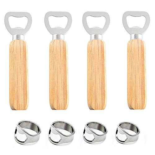 Aweisile 8 Pezzi Apribottiglie Set Apribottiglie manico in legno apribottiglie Apribottiglie anello metallo dell'anello birra della barra apri strumento per birra Apriscatole per gli uomini