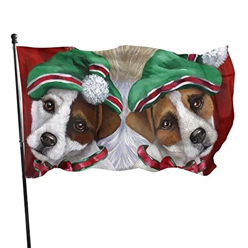 Banderas para jardín Perro lindo de Santa Claus Bandera Grande de balcón para Exterior Reforzada y con 2 Ojales metálicos 90x150cm