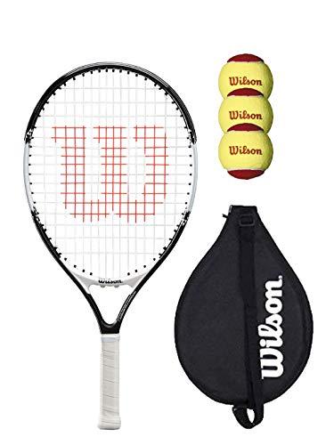 Wilson Federer 21 Junior - Raqueta de tenis con cubierta y 3 pelotas de tenis (varios modelos disponibles), color negro y blanco