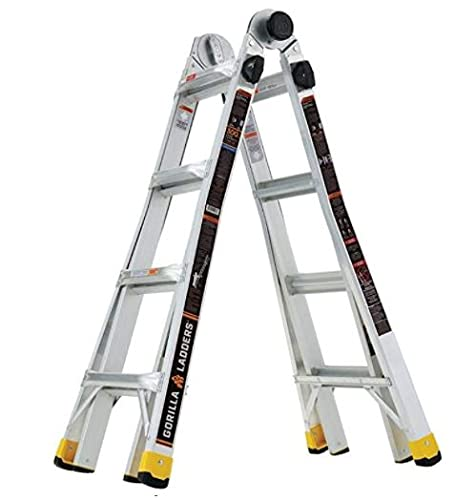 Gorilla Ladders GLMPXA-18 18 ft. Reach MPX Aluminum Multi-Position Ladder, 300 lbs. Load Capacity Type IA Duty Rating
