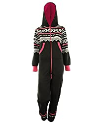 Aztec Print Unisex Ladies Jumpsuit Hooded Onesie - Black hooded onesie