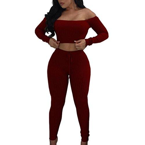 FORH Damen Mode 2 Stück Set Outfits Langarm Streifen Crop Top Trägerlos T-Shirt +Reizvolle Bodycon Paket Hüfte Hosen Beiläufig Outfit Sport Bekleidung (XL, Rot)