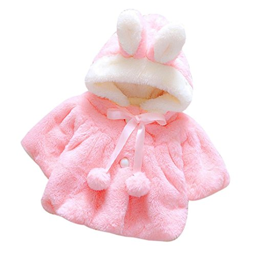 Staron Infant Girls Fashion Winter Hooded Coat Warm Cloak Jacket Baby Thick Clothes (6-12 Months, Pink)