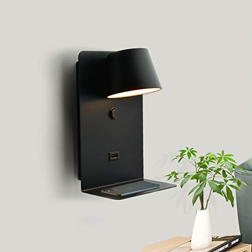 BarcelonaLED Lámpara Aplique de pared LED Aluminio negro con base de carga USB, foco orientable de 6W blanco cálido 2700K e interruptor para dormitorio cabecero lectura salón