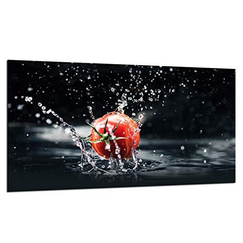 TMK - Placa protectora de vitrocerámica 90 x 52 cm 1 pieza cocina eléctrica universal para inducción, protección contra salpicaduras tabla de cortar de vidrio templado como decoración, tomates agua