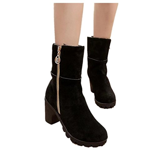 Women Winter Warm Boots High Heel Ankle Boots Non-Slip Martin Footwear Boot Shoes (US:7, Black)