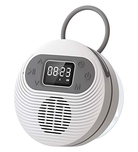 JOYMUZ Portable Waterproof Bluetooth Shower Speaker, Original Sound, FM Radio & 10H Playtime, Wireless Built in Mic for Home, Outdoor, and Travel