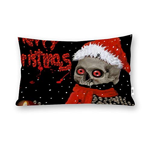 perfecone Home Improvement Cotton Pillowcase Double Skull Christmas Sofa and car Pillow case 1 Pack 19.68 x 29.5 inches/50 cm x 75 cm