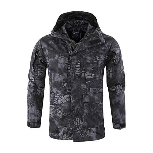 Eaylis Übergangsjacke Herren Camouflage Jacke Herbst Winter Dicke Kapuzenjacke in der Langen Sektion des warmen Mantels