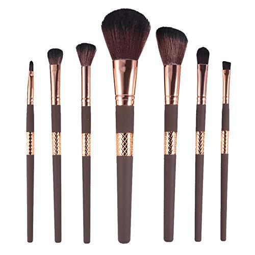 MEIMEIDA 7pcs pinceaux cosmétiques avec des tubes à carreaux décoratifs au milieu des poignées Fondation brosse en vrac poudre pour les yeux avec sac, poignée en or