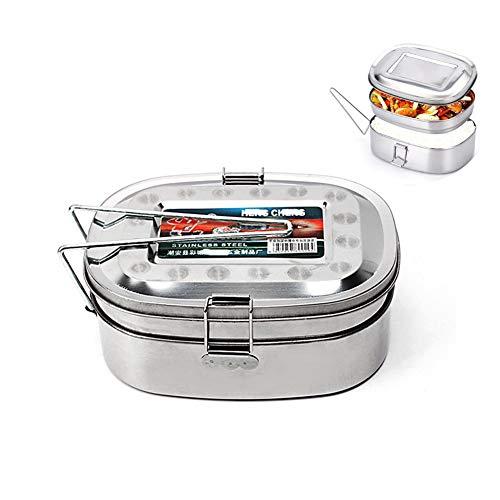 Fablcrew Lunchbox, quadratisch, Lunchbox, tragbar, aus Edelstahl, mit Griff, für Schule, Picknick, Camping, Küche, Edelstahl, rostfrei, L-double Couche, 17 *13*7.5CM
