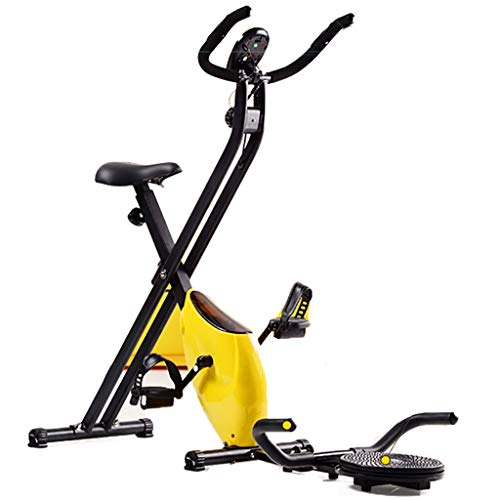 Hometrainers Hometrainer Opvouwbaar,spin Hometrainer, Fietsmachine, Hometrainer Crosstrainer, 8-speed Aanpassing, Display, Stepper, Loopband, Push-ups, Draaischijf (Color : Yellow)