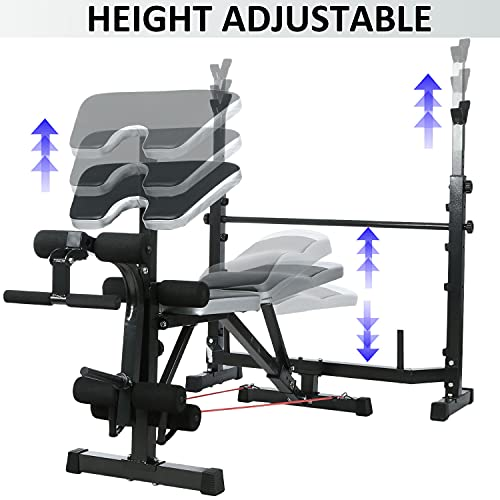 Hicient Olympic Weight Bench for Full Body Workout, Multifunctional Adjustable Weight Bench for Indoor Gym Home Fitness Exercise (Black)