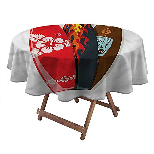 """Philip C. Williams Round Coffee Table Clothes Surfboard,Hawaiian Patterns Tropics Kids Picnic Table Round Patio Table Cover Picnic Diameter 50"""" inch"""