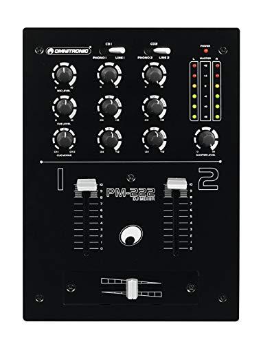 OMNITRONIC PM-222 2-Kanal-DJ-Mixer | 4 x Line und 2 x Phono (Stereo-Cinch), DJ-Mikrofon und Kopfhörer (6,3-mm-Klinke)