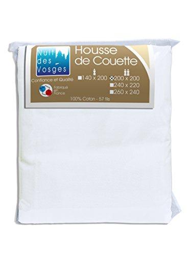Nuit des Vosges 2094824 Cotoval Housse de Couette Uni Coton Blanc 200 x 200 cm